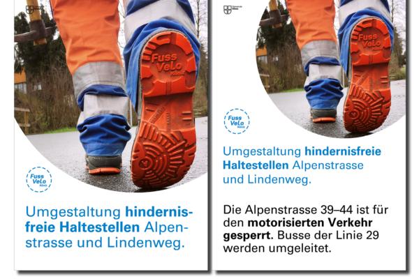 FussVeloKoeniz Plakate Baustellen Kommunikation