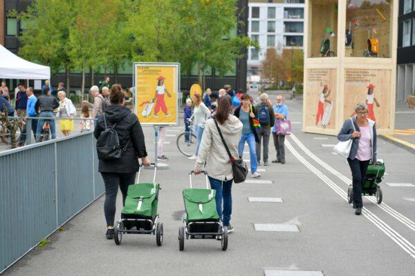 Einkaufs-Trolleys im Einsatz